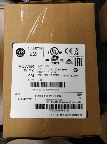 Ab Powerflex4m AC Drive, 480VAC, 3pH, 4.2 AMPS, 1.5 Kw, 2 HP (22F-D4P2N103)